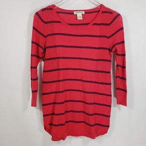 Orvis Red Striped Lightweight Pullover Sweater